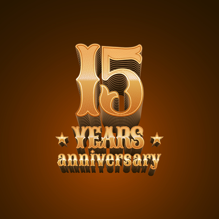 15 years anniversary vector icon. 15th birthday decoration design element, sign, emblem, symbol in gold