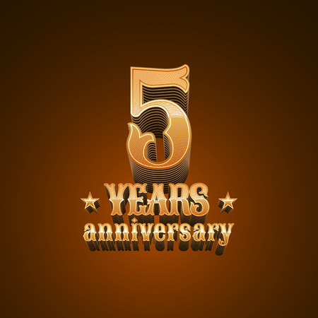 glint: 5 years anniversary vector icon. 5th birthday decoration design element, sign, emblem, symbol in gold Illustration