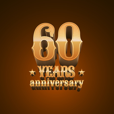 glint: 60 years anniversary vector icon. 60th birthday decoration design element, sign, emblem, symbol in gold Illustration