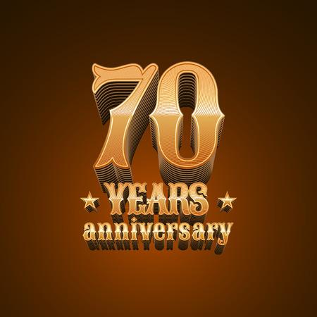70 years anniversary vector icon. 70th birthday decoration design element, sign, emblem, symbol in gold Illustration