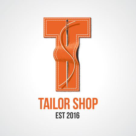 tailoring: Tailor shop vector, sign, emblem. Design element for sewing and tailoring craft service with needle making a stitch