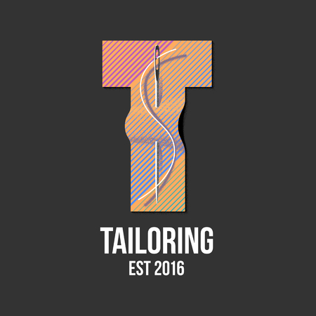 tailoring: Tailor shop vector, sign, emblem. Design element for sewing and tailoring craft service with needlework