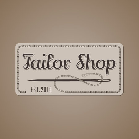 tailoring: Tailor shop vector, sign, emblem. Vintage, retro design element for tailoring and sewing craft service