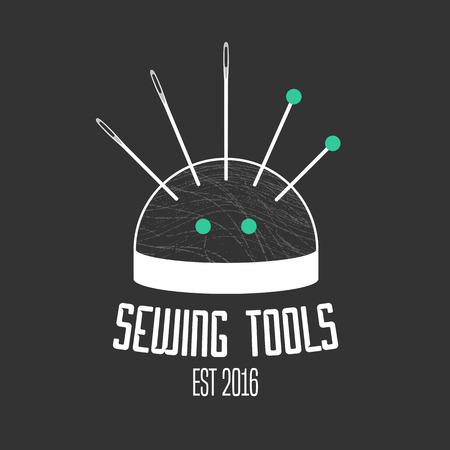 dressmaking: Tailor shop vector, sign, emblem. Design element for dressmaking, clothing sewing service Illustration