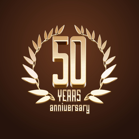 50 years jubilee: 50 years anniversary vector. 50th birthday, age classic decoration design element, sign, emblem, symbol with gold branch