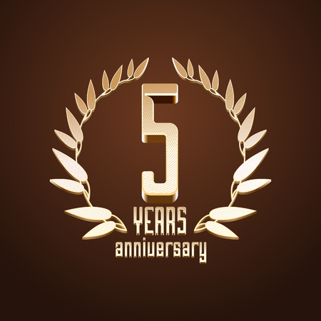 age 5: 5 years anniversary vector. 5th birthday, age classic decoration design element, sign, emblem, symbol with gold branch
