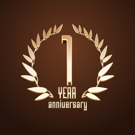 1 year anniversary: 1 year anniversary vector. 1st birthday, age classic decoration design element, sign, emblem, symbol with gold branch