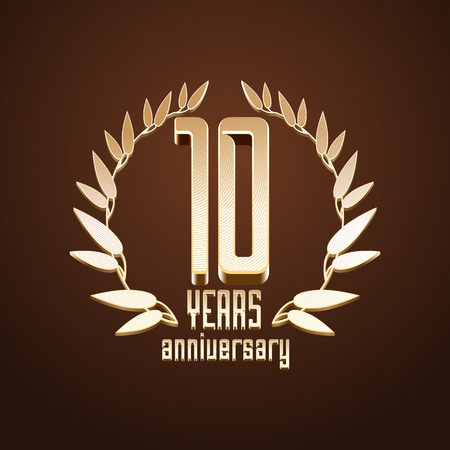 10th: 10 years anniversary vector. 10th birthday, age classic decoration design element, sign, emblem, symbol with gold branch Illustration