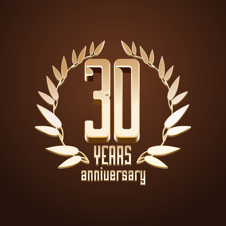 30th: 30 years anniversary vector. 30th birthday, age classic decoration design element, sign, emblem, symbol with gold branch