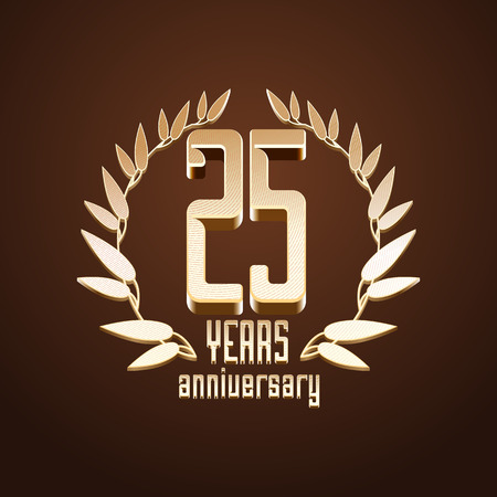 twenty fifth: 25 years anniversary vector, icon. 25th birthday, age classic decoration design element, sign, emblem, symbol with gold branch