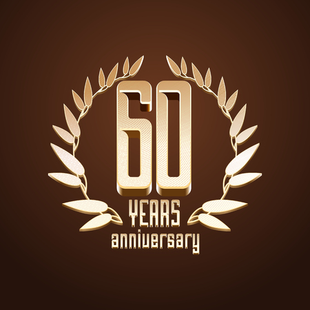 sixtieth: 60 years anniversary vector. 60th birthday, age classic decoration design element, sign, emblem, symbol with gold branch