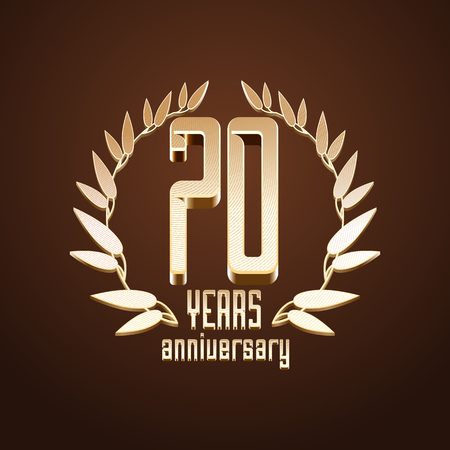 seventieth: 70 years anniversary vector, icon. 70th birthday, age classic decoration design element, sign, emblem, symbol with gold branch