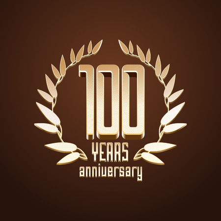 gold age: 100 years anniversary vector. 100th birthday, age classic decoration design element, sign, emblem, symbol with gold branch