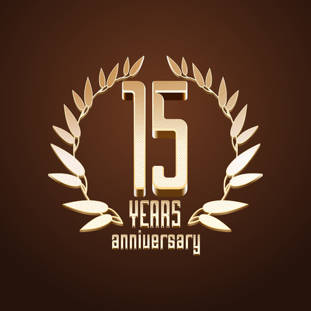 gold age: 15 years anniversary vector. 15th birthday, age classic decoration design element, sign, emblem, symbol with gold branch