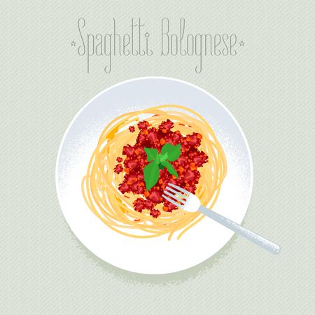 Spaghetti, Italian pasta vector design element for menu, poster. Traditional Italian dish spagetti bolognese served for dinner illustration