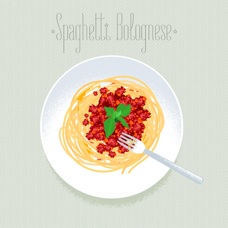 Spaghetti, Italian pasta vector design element for menu, poster. Traditional Italian dish spagetti bolognese served for dinner illustration