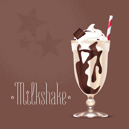 Milkshake vector illustration, design element. Isolated cartoon glass and straw with chocolate milk shake and ice cream