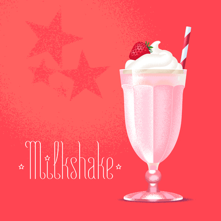 Milkshake vector illustration, design element. Isolated cartoon glass and straw with pink strawberry milk shake and ice cream