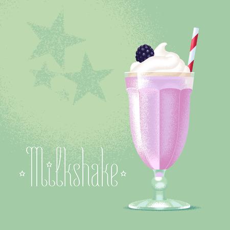 Milkshake vector illustration, design element. Isolated cartoon glass and straw with blackberry, blueberry fruit milk shake and ice cream