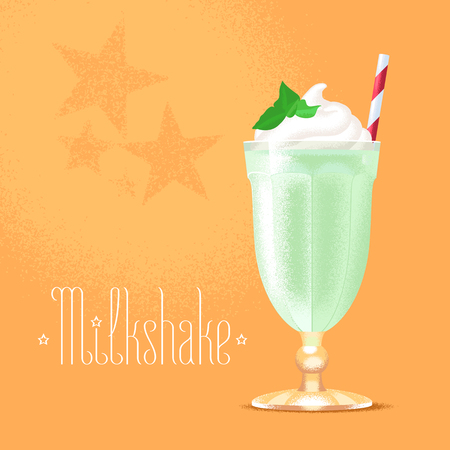 Milkshake vector illustration, design element. Isolated cartoon glass and straw with green milk shake and ice cream