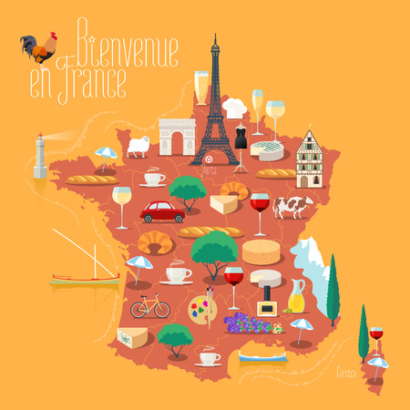 Map of France vector isolated illustration. Set of icons with French Eiffel tower, Paris symbol, croissant, baguette, Alps, other landmarks. Bienvenue en France - Welcome to France Ilustrace