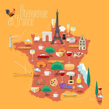 Mappa della Francia illustrazione vettoriale isolato. Set di icone con il francese Torre Eiffel, simbolo di Parigi, croissant, baguette, Alpi, altri punti di riferimento. Bienvenue en France - Benvenuti in Francia