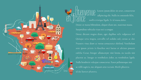 map wine: Map of France vector illustration, design. Icons with French Eiffel tower, wine, arch of triumph. Paris capital. Explore France concept. Bienvenue en France - Welcome to France