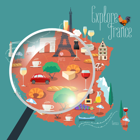 triumphal: Map of France vector isolated illustration. Set of icons with French Eiffel tower, Paris symbol, croissant, baguette, Alps, other touristic landmarks. Explore, travel to France concept Illustration