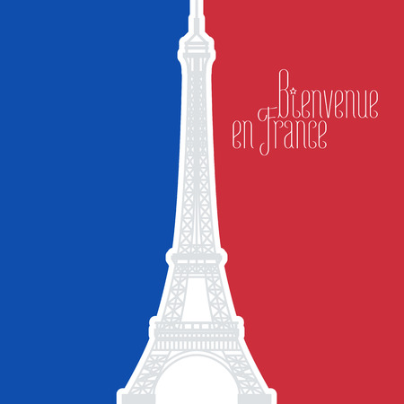 en: France vector illustration with French flag colors and Eiffel tower, famous landmark. Bienvenue en France, in French - Welcome to France, in English