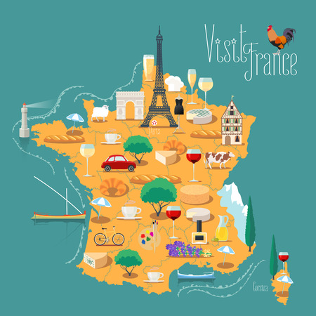 Map of France vector isolated illustration. Set of icons with French Eiffel tower, Paris symbol, croissant, baguette, Alps, other landmarks. Travel to France concept