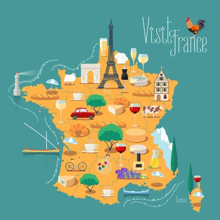 Mapa we Francji izolowane ilustracji wektorowych. Zestaw ikon z francuskiej wieży Eiffla, symbol Paryża, rogalik, bagietek, alpy, inne zabytki. Podróż do Francji