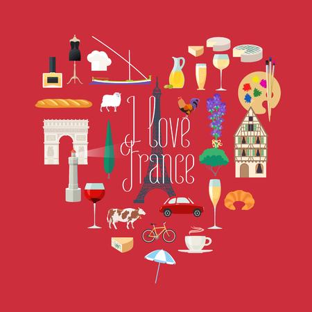 i love paris: Travel to France vector icons set in heart shape. French landmarks, Eiffel tower, arch Triumph, Paris architecture buildings, dress, croissant, baguette. I love France quote Illustration