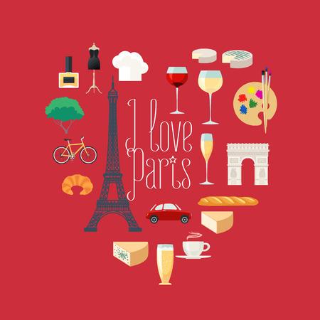 i love paris: Travel to France, Paris vector icons set in heart shape. French, Parisian landmarks, Eiffel tower, arch Triumph, architecture buildings, dress, croissant, baguette. I love Paris quotation