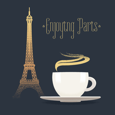 French Eiffel tower and coffee with steam vector illustration. Visit France, Paris concept design element with French architecture symbol