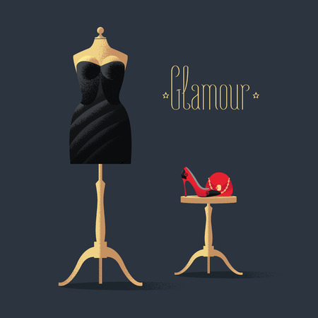 Fashion vector illustration with little black dress, high heels shoe and bag. Glamour sign on black background. Design element with mannequin in black dress for poster