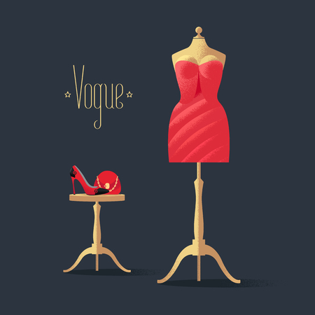 Fashion vector illustration with little red dress, high heels shoe and bag. Vogue sign on black background. Design element with mannequin in red dress for poster