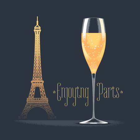 champagne celebration: French Eiffel tower and glass of champagne vector illustration. Visit France, Paris concept design element with French architecture symbol. Sparkling champagne as celebration icon