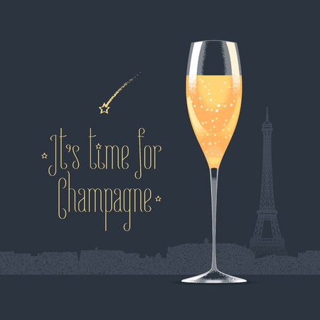eifel: French Eiffel tower and glass of champagne vector illustration. Visit France, Paris concept design element with French architecture symbol. Its time for champagne quotation