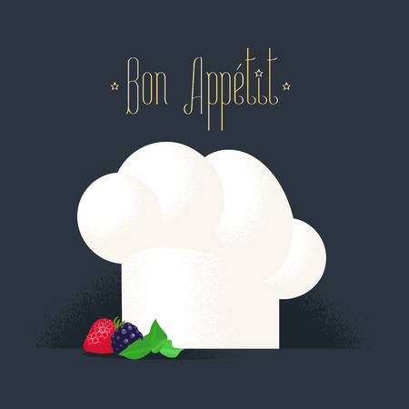 gastronomic: Chef hat vector illustration. White cook cap icon. Kitchen chef gastronomic uniform detail