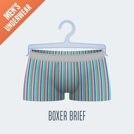 underclothes: Mens underwear vector illustration. Men boxer brief, boxers underwear model with stripes. Clothing detail, design element on hanger