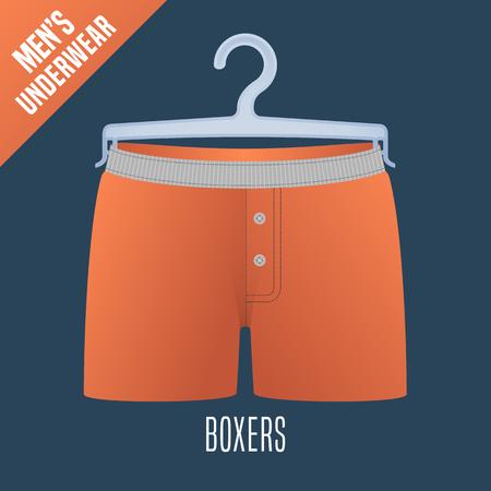 underclothes: Mens underwear vector illustration. Clothing detail, design element on hanger display for retail. Men boxers underwear model Illustration