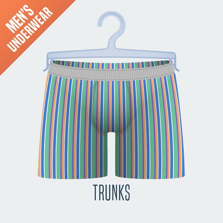 underclothes: Mens underwear vector illustration. Men trunks, boxers, shorts underwear model with stripes. Design element of male pants, apparel detail on hanger
