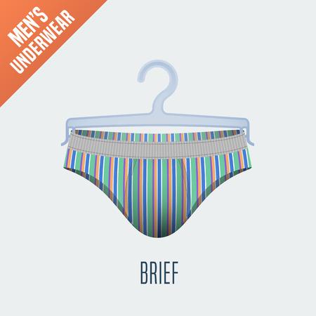 bikini model: Mens underwear vector illustration. Men bikini, brief, slip underwear model. Design element of clothing detail on hanger display for retail, cloakroom Illustration