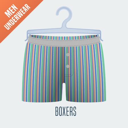 cloakroom: Mens underwear vector illustration. Design element of clothing detail on hanger display for retail, cloakroom. Men boxers underwear model