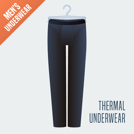 display size: Mens underwear, pants vector illustration. Design element, clothing detail for thermal male underwear model for poster, flyer, display in retail, store