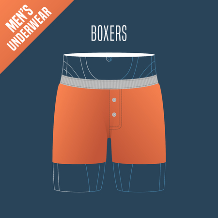 retail display: Mens underwear, shorts vector illustration. Design element, clothing detail for boxers male underwear model for poster, flyer, display in retail, store