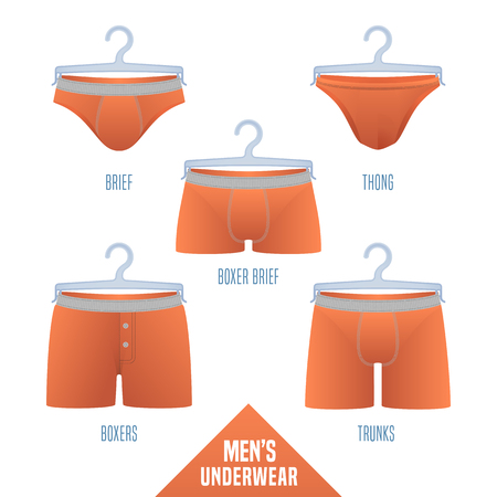 Mens underwear collection vector illustration. Set, design elements of different models of male underwear - boxers, slip, boxer brief, bikini, trunks, thong for retail, shop, poster, flyer