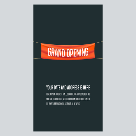 Grand opening vertical vector illustration, background for new store, club, etc. Template banner, flyer, design element for opening event