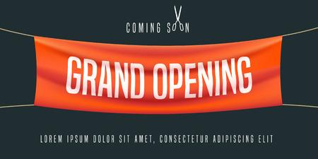 Grand vecteur d'ouverture illustration, arrière-plan pour un nouveau magasin, club, etc. bannière modèle, flyer, élément de design, décoration pour l'ouverture de l'événement