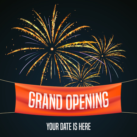 Grand opening vector illustration, background for new store, club, etc with firework. Template banner, flyer, design element for opening event